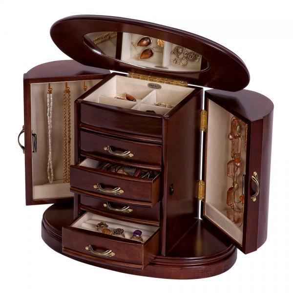 Wooden Jewelry Box Walnut Finish Rounded Design Interior