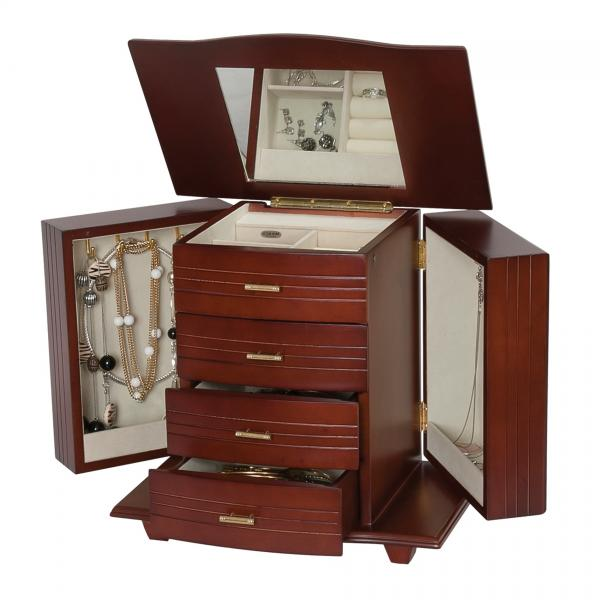 Wooden Jewelry Box, Walnut Finish, Footed Base, Jewel Chest & Storage