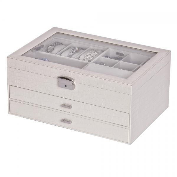 Locking Jewelry Chest w/ Travel Case White Faux Leather, Glass Top