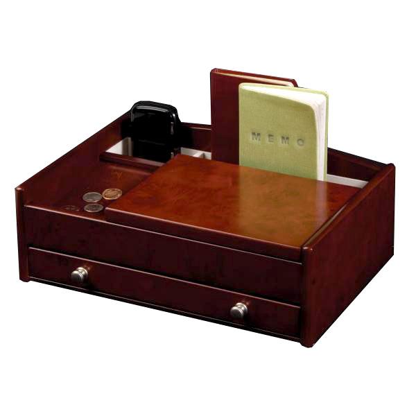 Wooden Dresser Top Valet Tray, Catch All w/ Burlwood Walnut Finish