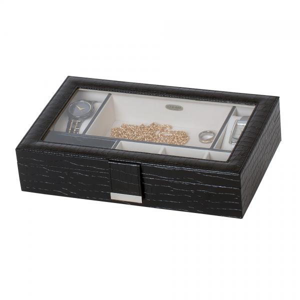 Dresser Top Valet in Black Croco Faux Leather. Safe Jewelry Storage