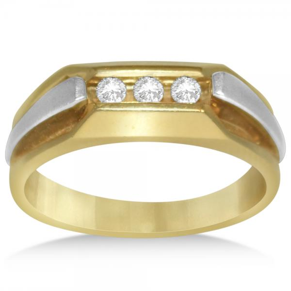 Men's Diamond Accented 3 Stone Wedding Band in 14k Two Tone Gold (0.25ct)