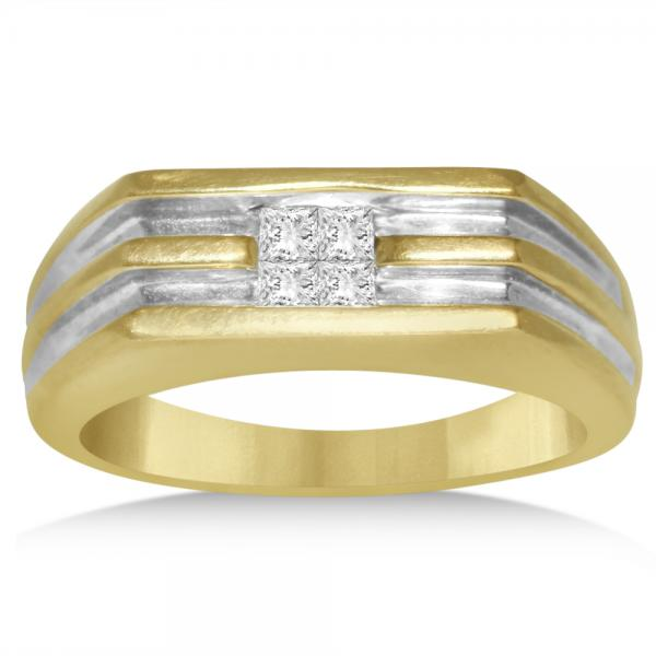 Men's Princess Cut Invisible Set Wedding Band in 14k Two Tone Gold (0.29ct)