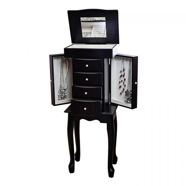 Classic, French Provincial Style Wooden Jewelry Armoire in Java Finish