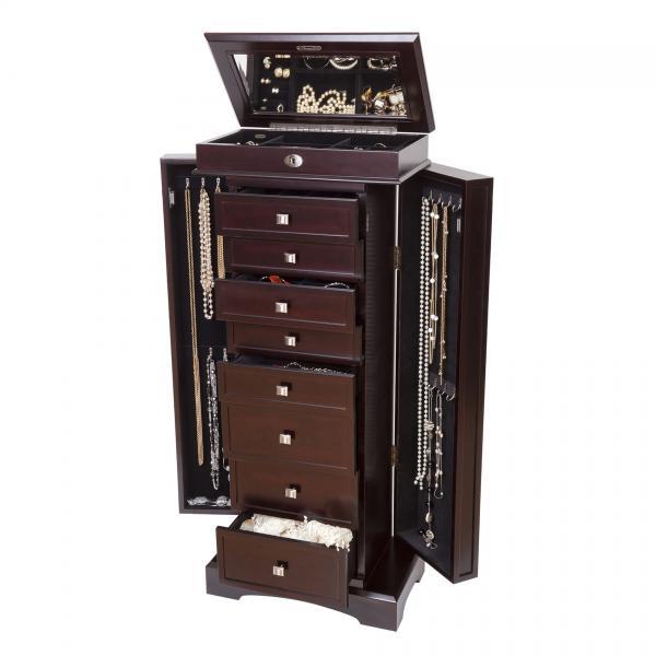 Wooden Jewelry Armoire Dark Walnut Finish, 8 Drawers, Necklace Doors