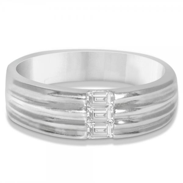 Men's Diamond Baguette Wedding Band in 14k White Gold (0.30ct)