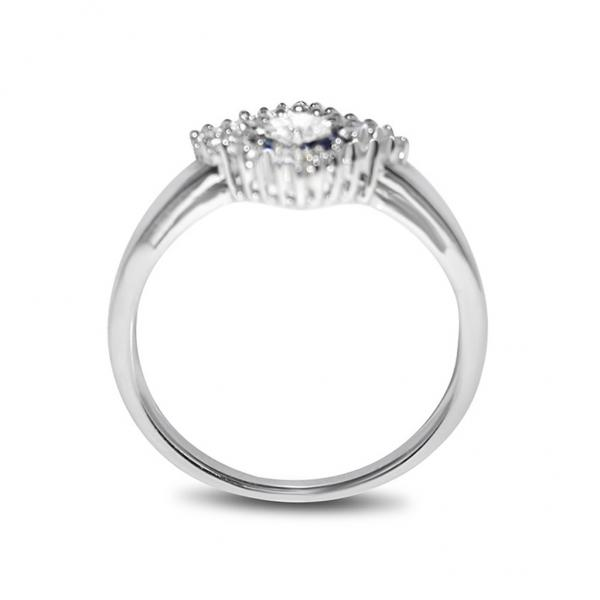 Diamond & Blue Sapphire Square Engagement Ring 14k White Gold (0.75ct)
