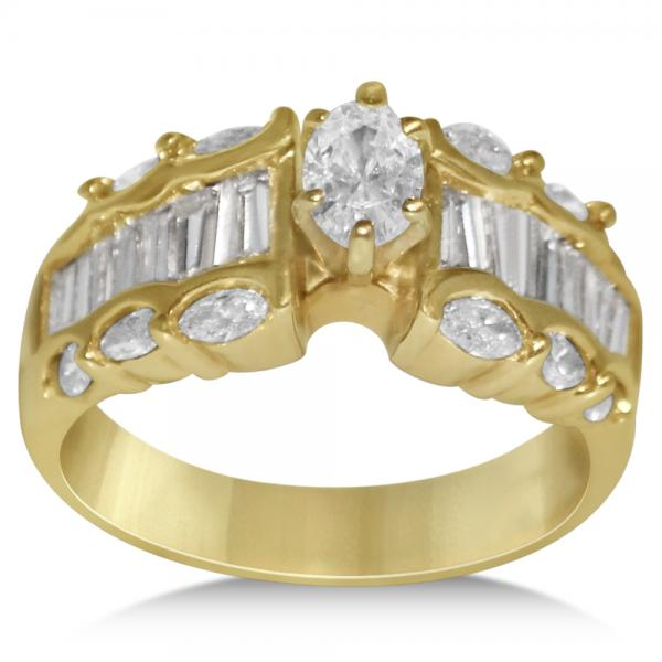 Diamond Oval Cut Solitaire Engagement Ring in 14k Yellow Gold (1.60ct)