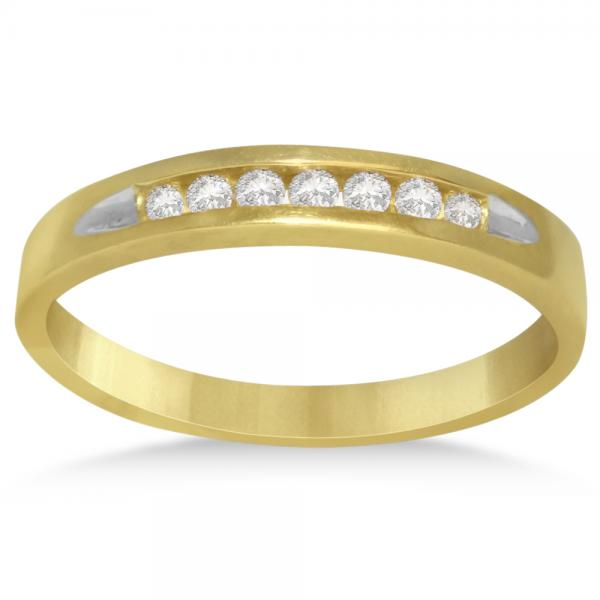 Men's Diamond Accented Wedding Band in 14k Yellow Gold (0.20ct)
