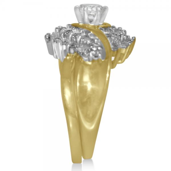 Diamond Halo Accented Engagement Bridal Set in 14k Yellow Gold (1.16ct)