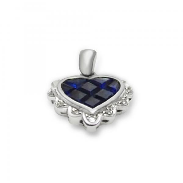Diamond & Blue Sapphire Necklace Pendant in 14k White Gold (1.00ct)