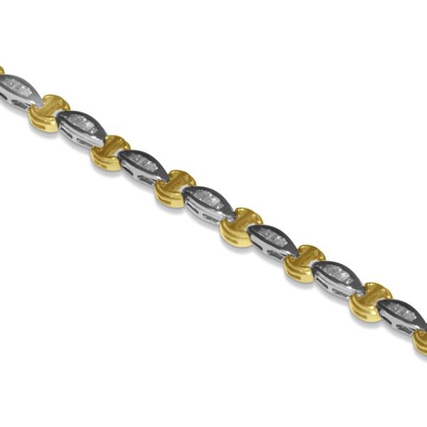 Diamond Baguette Bracelet in 14k Two Tone Gold (1.10ct)