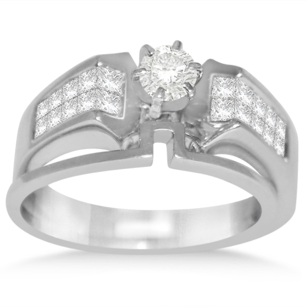 Diamond Invisible Set Bridal Set in 14k White Gold (1.00ct)