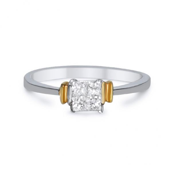 Invisible-Set Diamond Engagement Ring Two Tone 14k Gold (0.25ct)