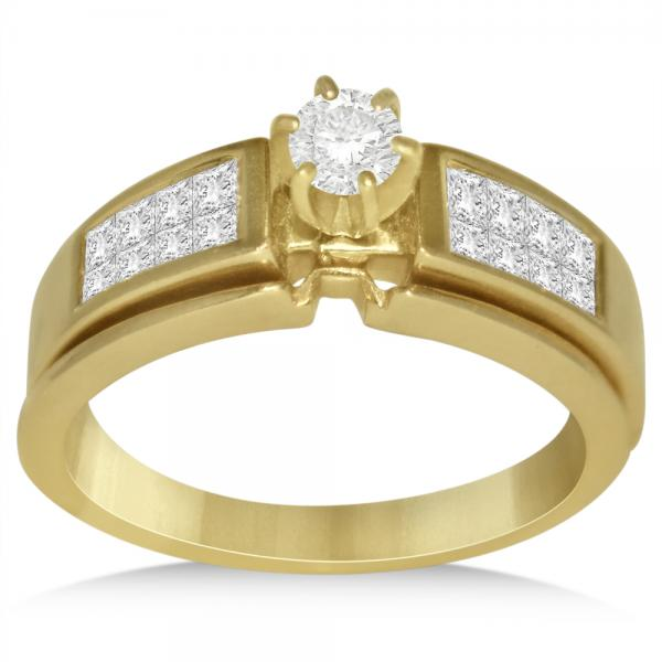 Diamond Accented Invisible Set Engagement Ring in 14k Yellow Gold (0.75ct)