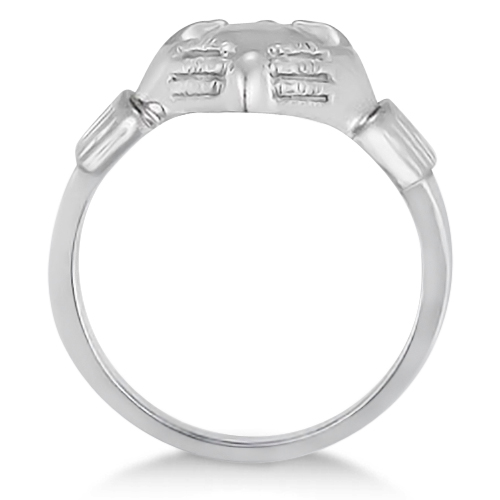 Women's Heart Claddagh Ring Irish Wedding Band 14k White Gold