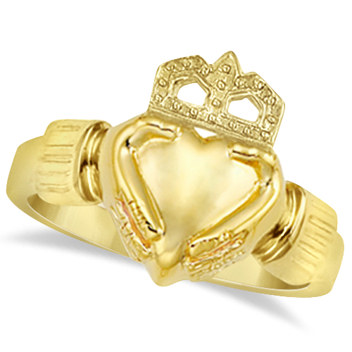 Women's Heart Claddagh Ring Irish Wedding Band 14k Yellow Gold