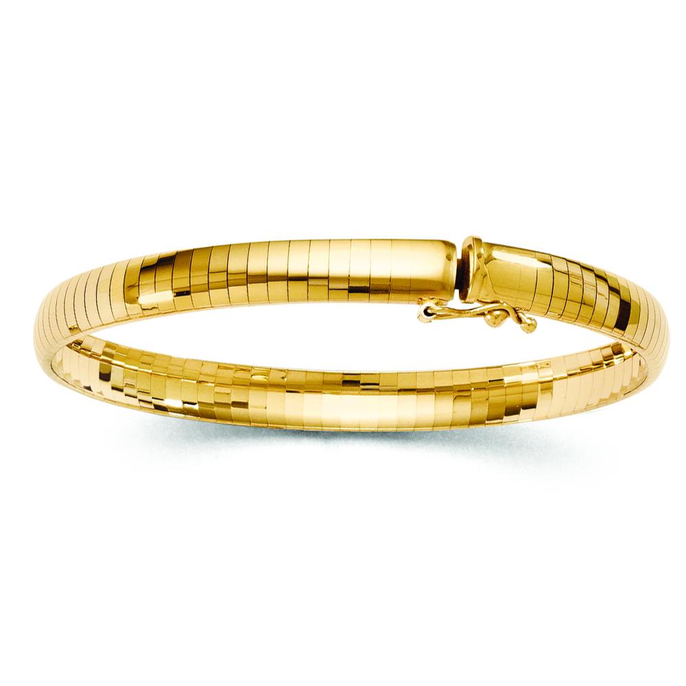 Ladies 6mm Omega Domed Bangle Bracelet 14k Yellow Gold
