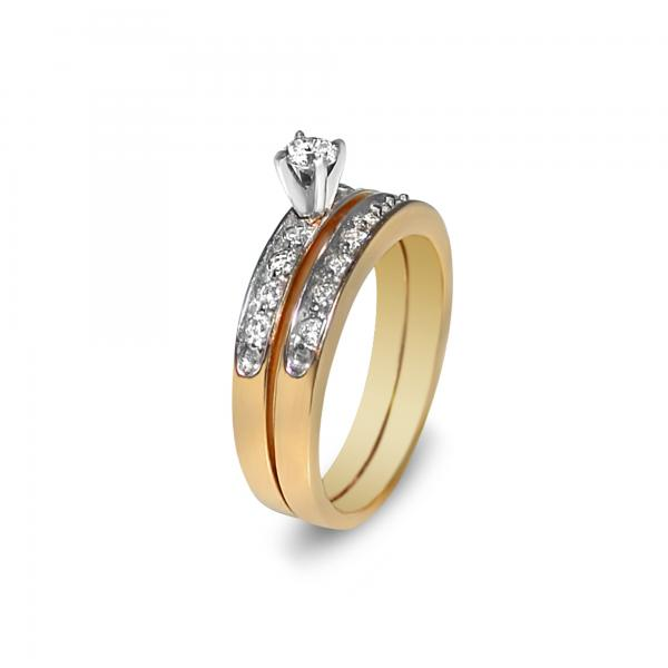 Diamond Sidestone Accented Bridal Set in 14k Yellow Gold (0.57ct)