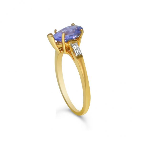 3 Stone Diamond & Tanzanite Engagement Ring 14k Yellow Gold (1.50ct)