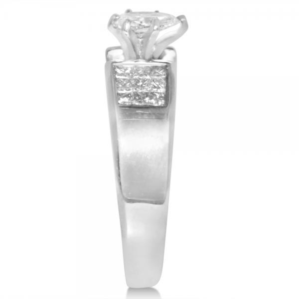 Diamond Accented Invisible Set Engagement Ring in 14k White Gold (0.85ct)