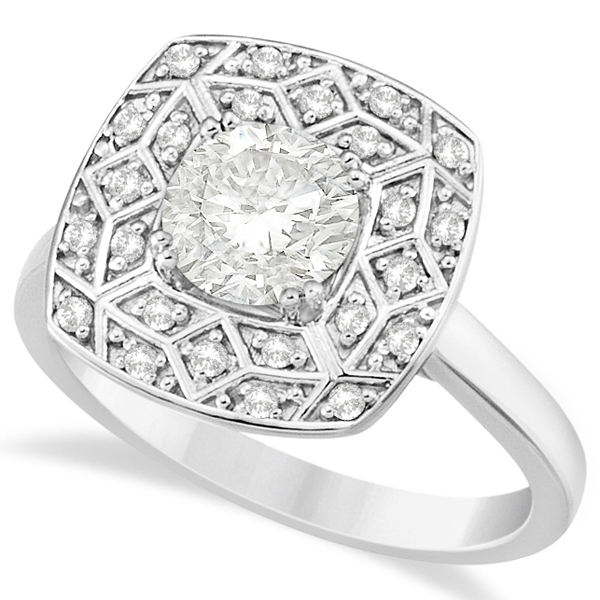 Diamond Accented Engagement Ring in 14k White Gold (1.17ct)