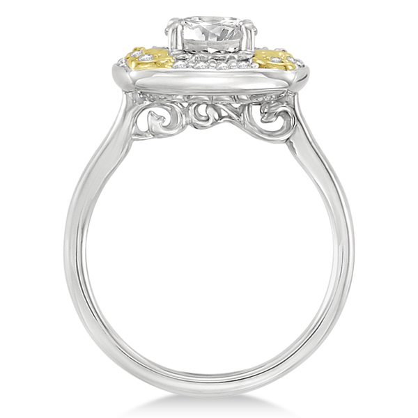 Diamond Accented Floral Engagement Ring in 14k Two Tone Gold (1.20ct)