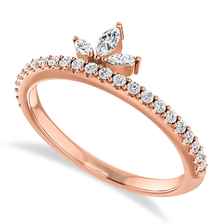 Diamond Stackable Crown Ring/Wedding Band 14k Rose Gold (0.38ct)