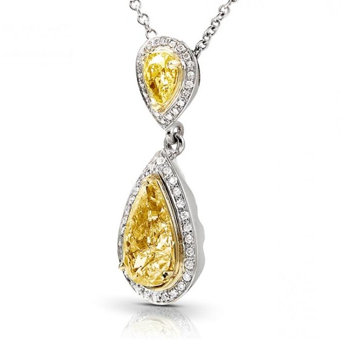 Fancy pear yellow diamond pendant necklace 18k two tone gold 188ct fancy pear yellow diamond pendant necklace 18k two tone gold 188ct mozeypictures Images