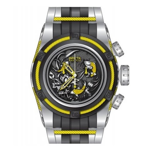 Invicta Men's Black Dial w/ Yellow Trim Polyurethane Band Quartz Watch