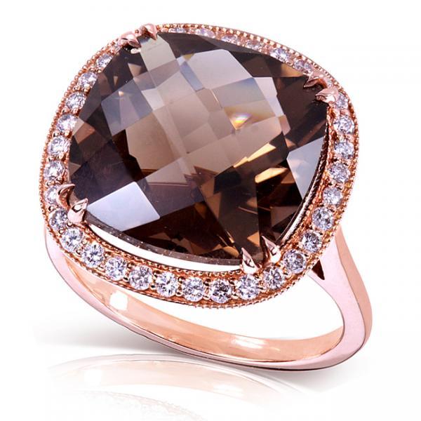Well-liked Cushion Cut Smoky Quartz & Diamond Cocktail Ring 14k Rose Gold 8.25ct XV64