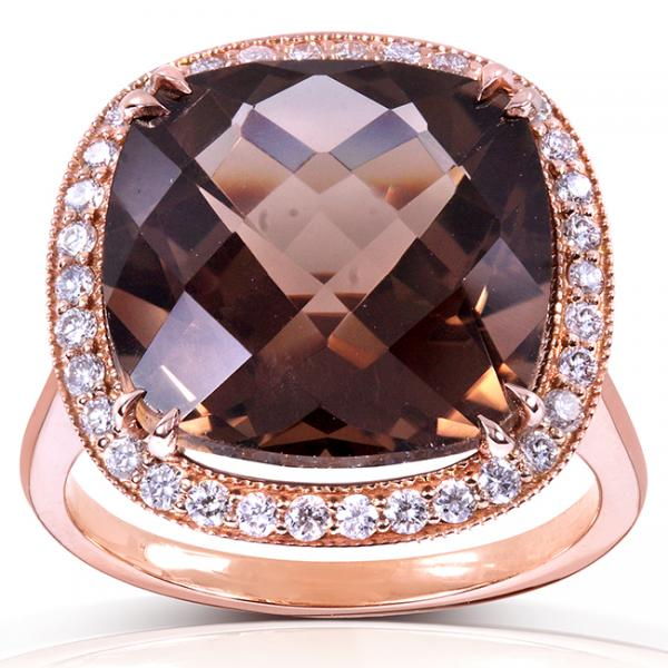 Cushion Cut Smoky Quartz & Diamond Cocktail Ring 14k Rose