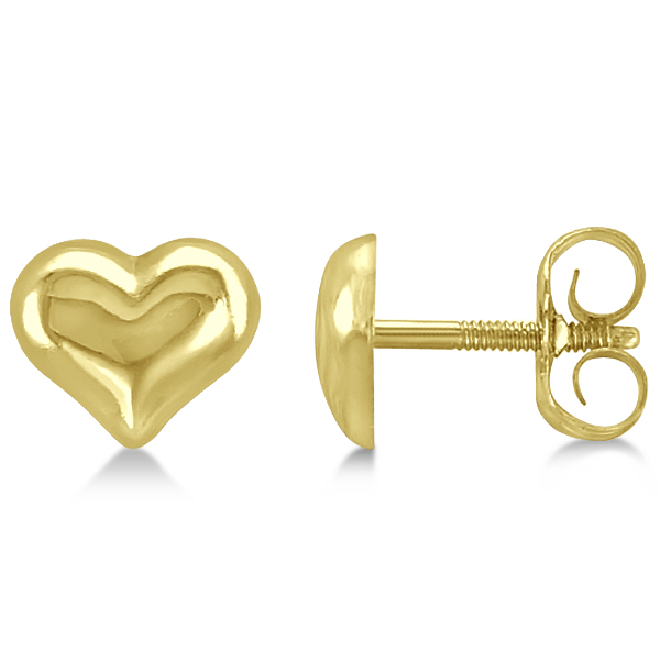 Petite Style Puffed Heart Earrings Crafted in 14k Yellow Gold