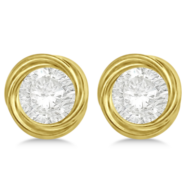 Twisted Rope Earring Jackets for Studs up to 10.50mm 14K Yellow Gold