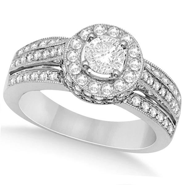 Halo Diamond Engagement Ring & Band Bridal Set 14K White Gold 1.27ct