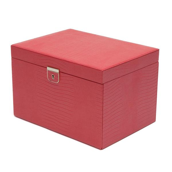 Wolf Designs Large Jewelry Box in Coral Leather w/ 15 Compartments
