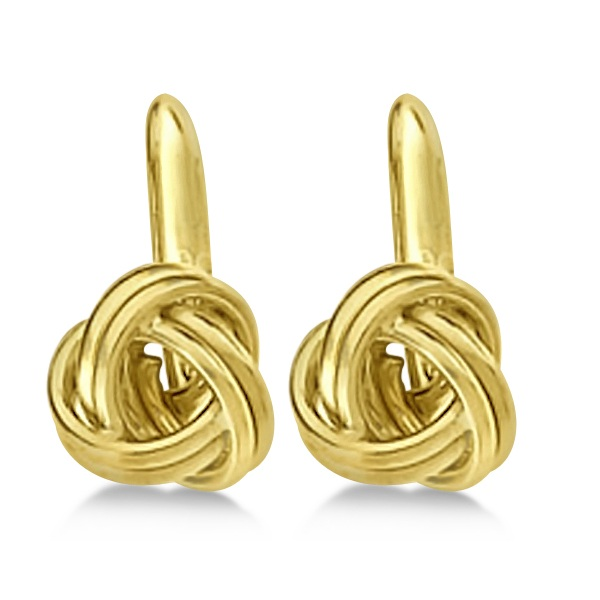 Love Knot Lever Back Earrings 14K Yellow Gold (8.00mm)