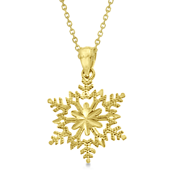 Solid gold snowflake pendant necklace 14k yellow gold re664 solid gold snowflake pendant necklace 14k yellow gold aloadofball Image collections