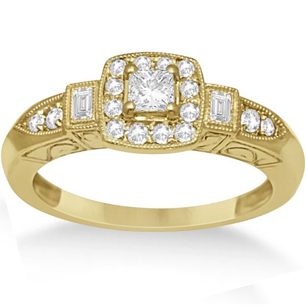 Diamond Halo Engagement Ring & Band Bridal Set 14K Y. Gold 0.53ct