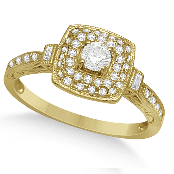 Double Halo Diamond Engagement Ring & Band Set 14K Y. Gold 0.57ct
