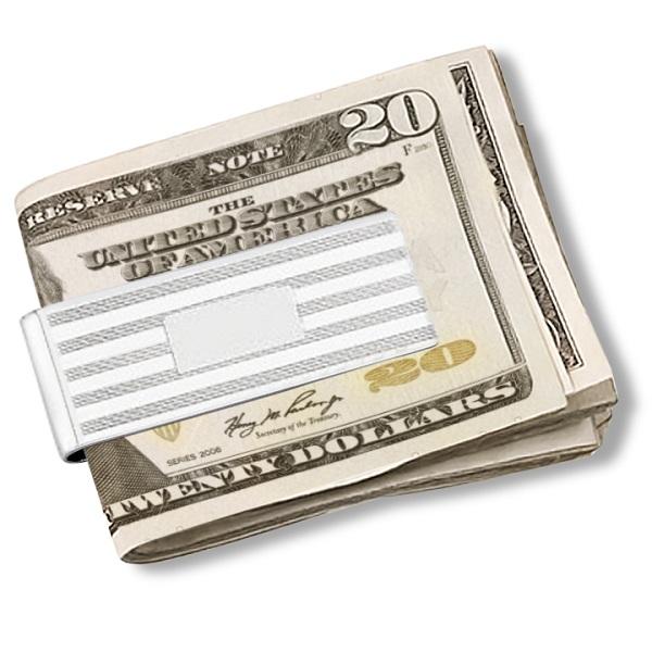 Fancy Striped Men's Money Clip Sterling Silver