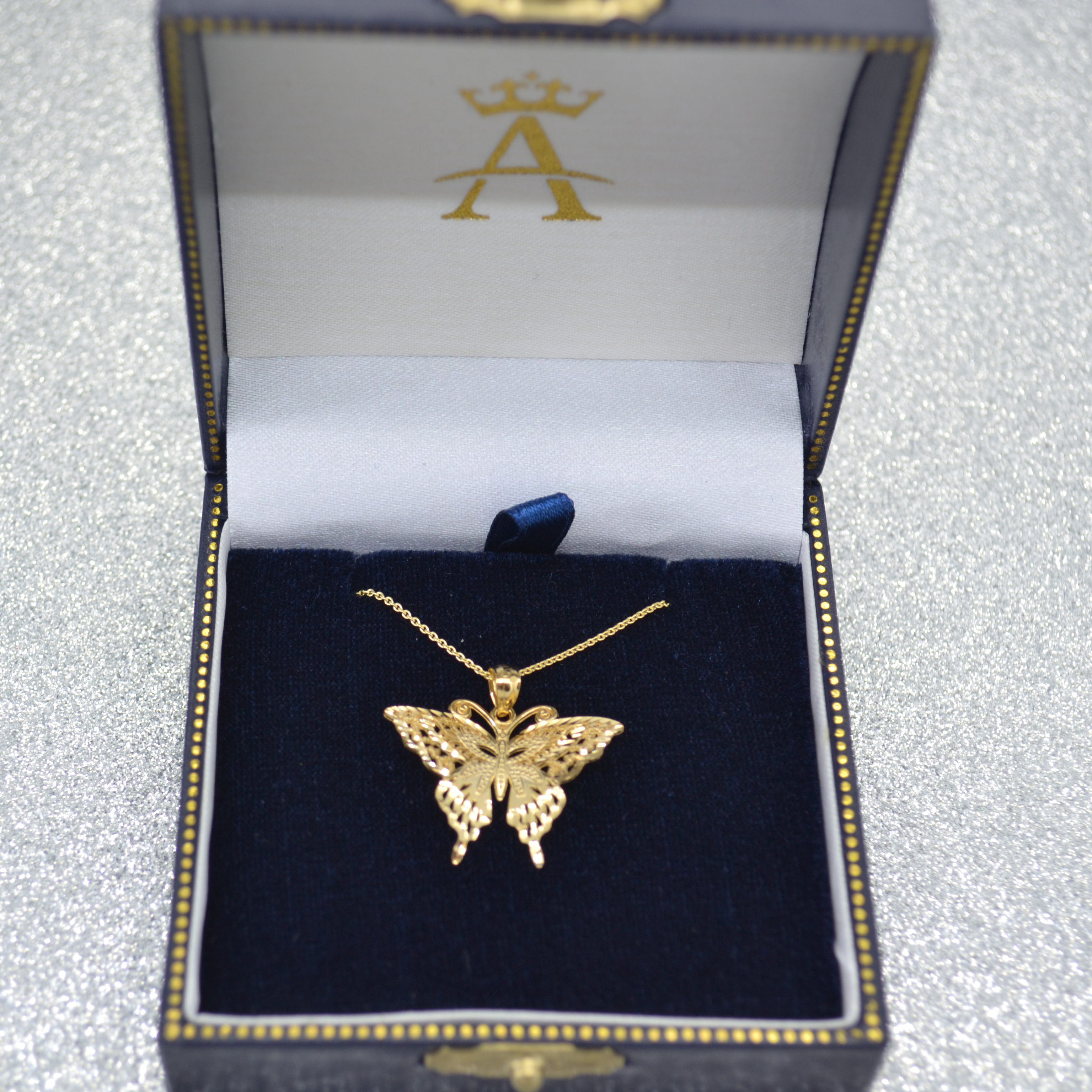 Butterfly Shaped Pendant Necklace 14K Yellow Gold