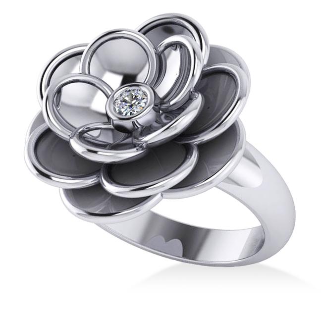 Diamond Flower Fashion Ring 14k White Gold (0.06ct)