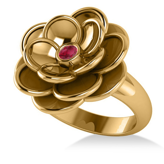 Ruby Flower Fashion Ring 14k Yellow Gold (0.06ct)
