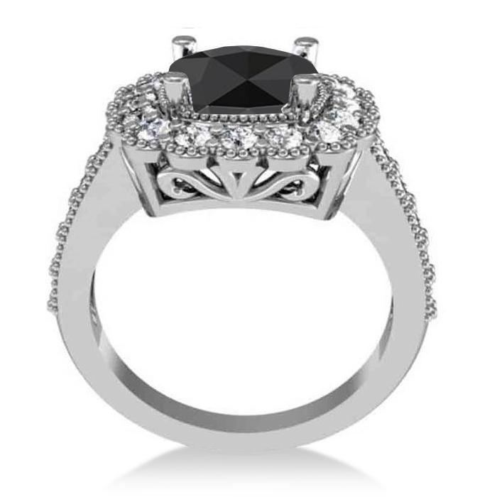 Black Diamond & Diamond Cushion Halo Engagement Ring 14k White Gold (2.82ct)