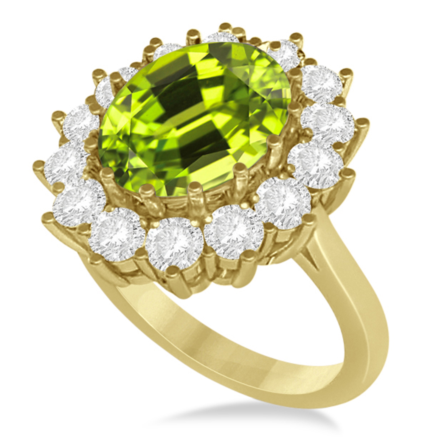 Oval Peridot & Diamond Accented Ring in 14k Yellow Gold (5.40ctw)