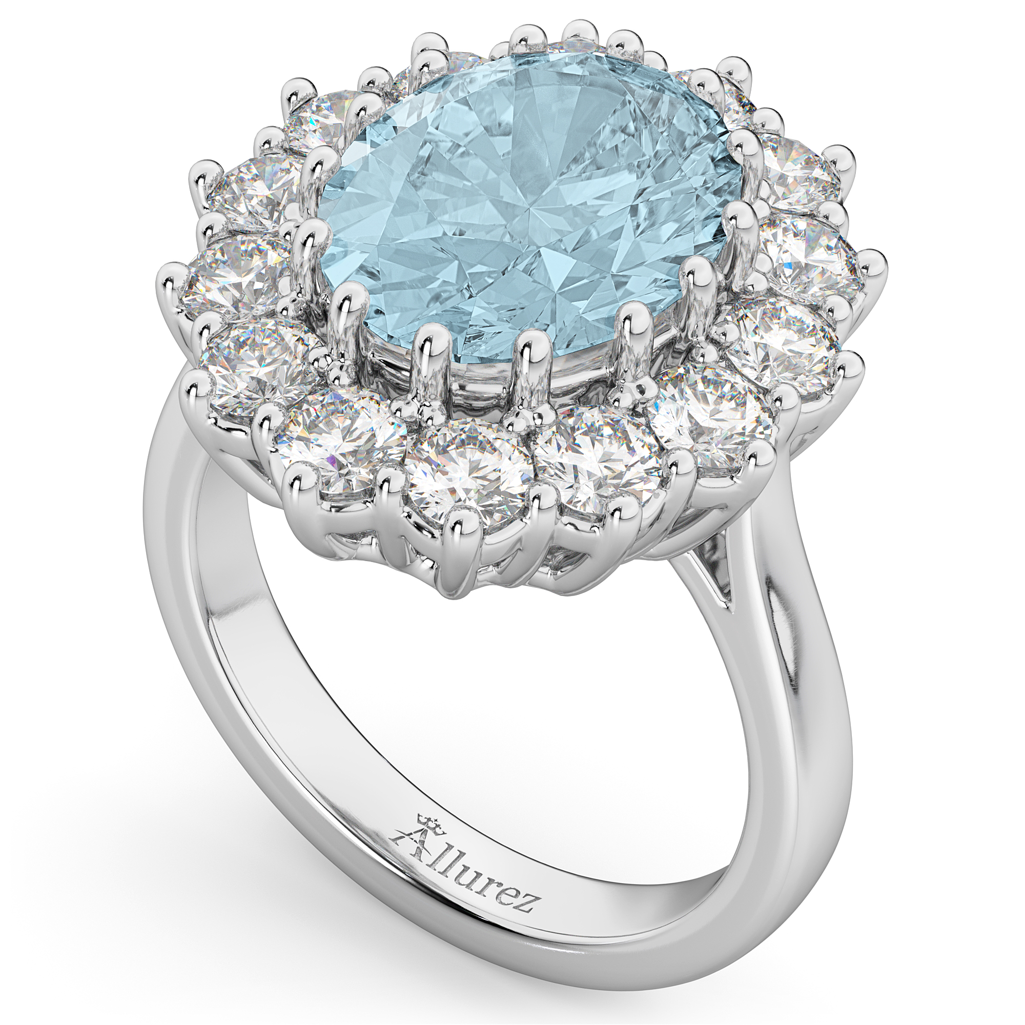 Oval Aquamarine & Diamond Halo Lady Di Ring 14k White Gold