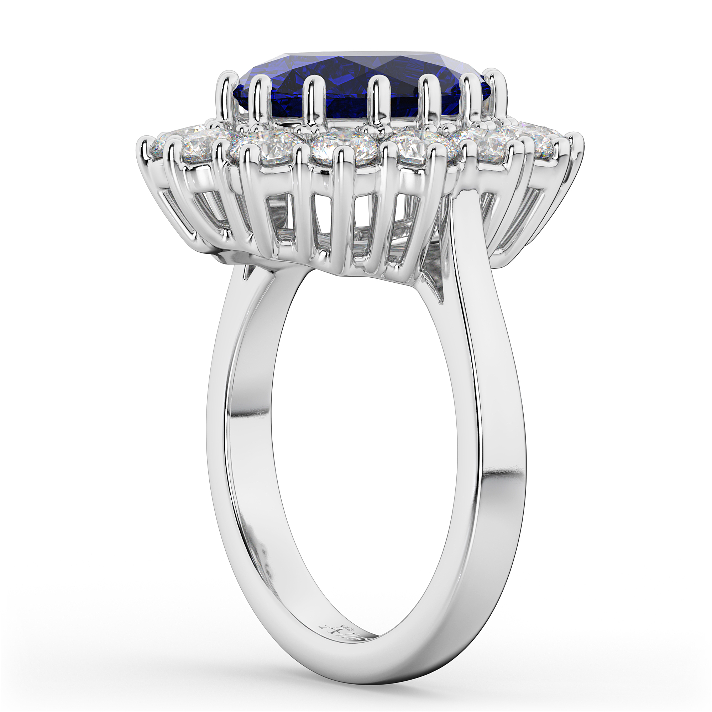 Oval Blue Sapphire & Diamond Halo Lady Di Ring 14k White Gold 6 40ct