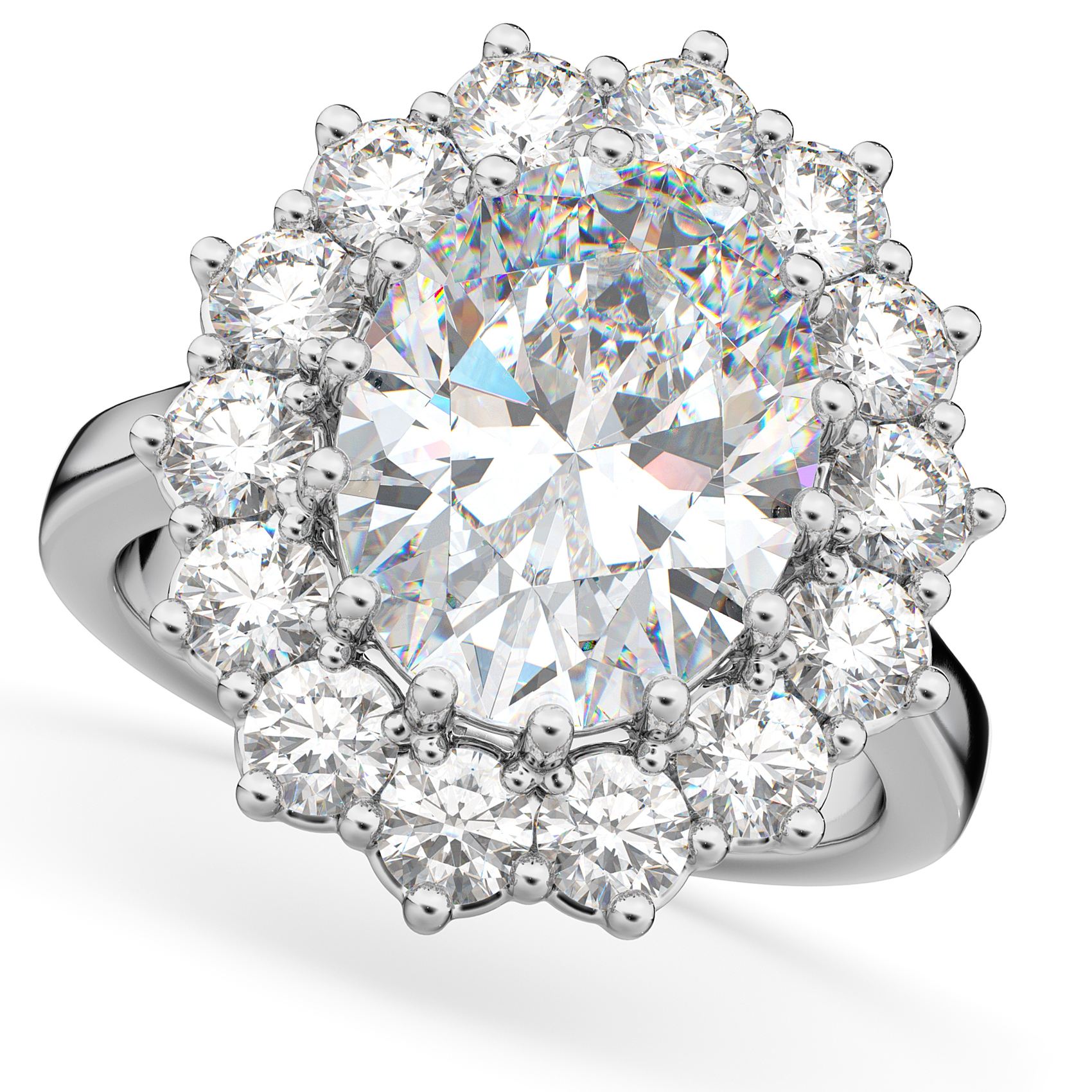 Oval Moissanite & Diamond Halo Lady Di Ring 14k White Gold (6.40ct)