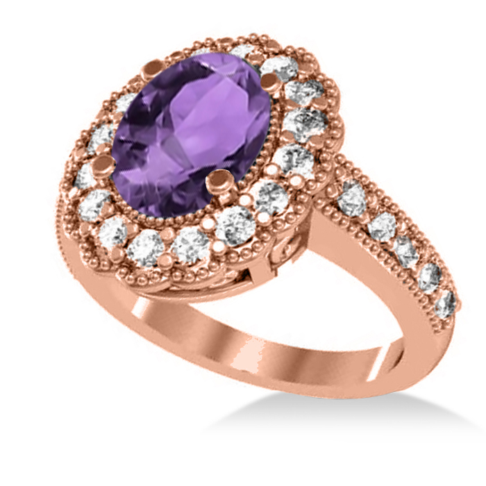 amethyst diamond oval halo engagement ring 14k rose gold. Black Bedroom Furniture Sets. Home Design Ideas